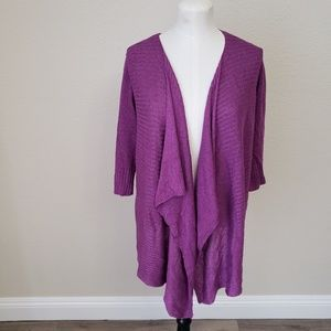 Eileen Fisher Linen Silk Open Front Cardigan